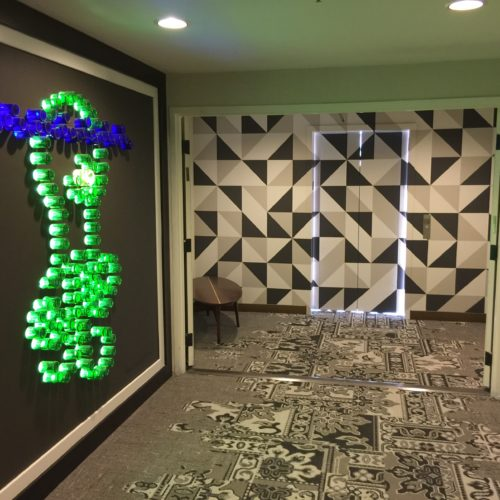 Hotel Hermosa 2 elevator doors geometric pattern decorative ptg